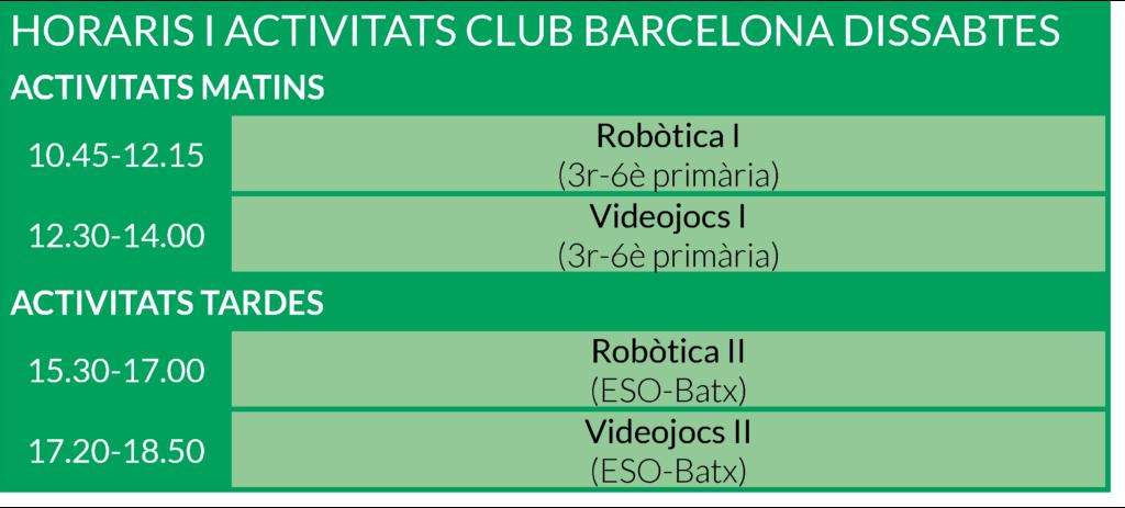 HORARIS BARCELONA 2017-2018